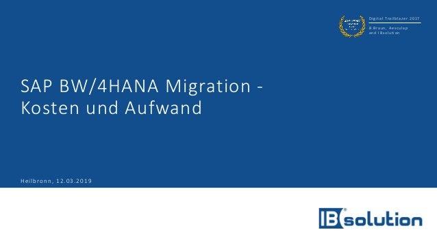 Digital Trailblazer 2017 B.Braun, Aesculap and IBsolution SAP BW/4HANA Migration - Kosten und Aufwand Heilbronn, 12.03.2019
