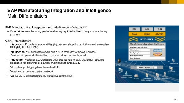 20© 2017 SAP SE or an SAP affiliate company. All rights reserved. SAP Manufacturing Integration and Intelligence Main Diff...