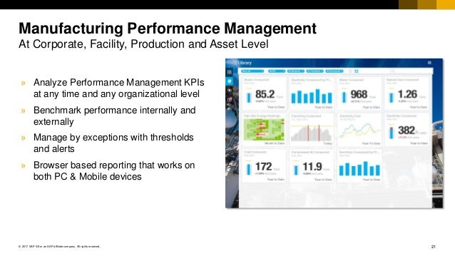 21© 2017 SAP SE or an SAP affiliate company. All rights reserved. Manufacturing Performance Management At Corporate, Facil...