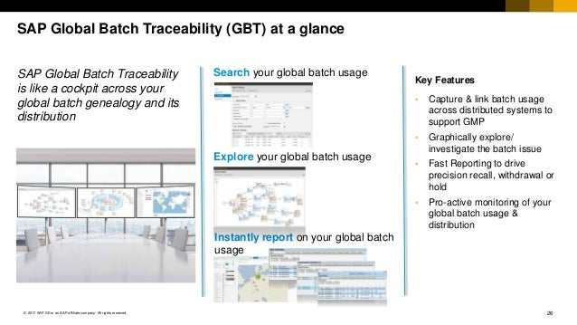 26© 2017 SAP SE or an SAP affiliate company. All rights reserved. SAP Global Batch Traceability (GBT) at a glance SAP Glob...