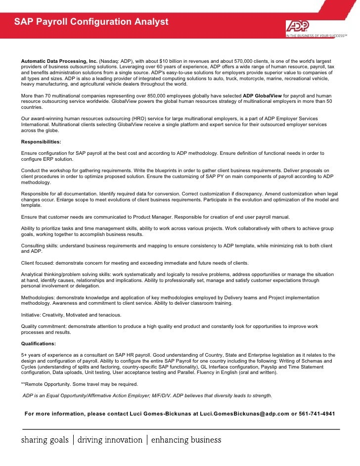 Sap Config Analyst Job Description