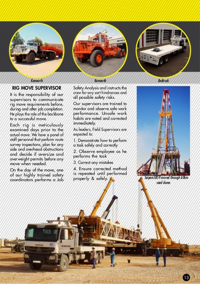 Kenworth moving the derrick DERRICK PULLERS Moving the rig derrick on as a single piece saves considerable time as it elim...