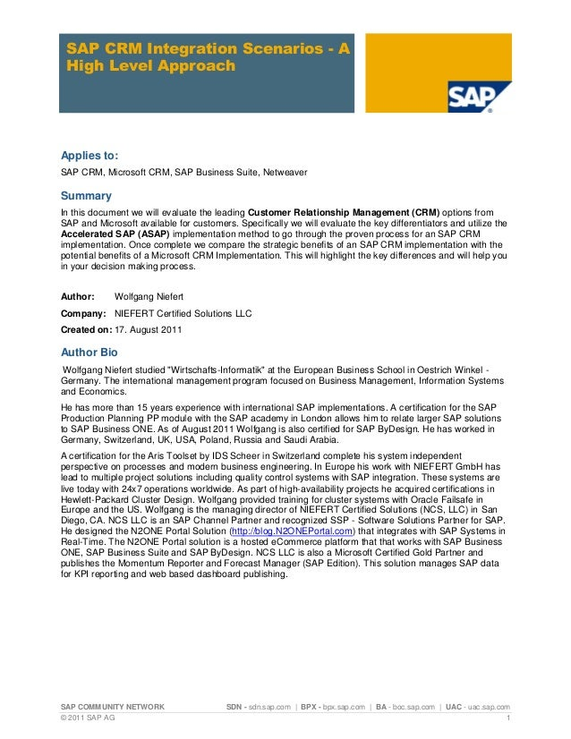 SAP COMMUNITY NETWORK SDN - sdn.sap.com   BPX - bpx.sap.com   BA - boc.sap.com   UAC - uac.sap.com © 2011 SAP AG 1 SAP CRM...