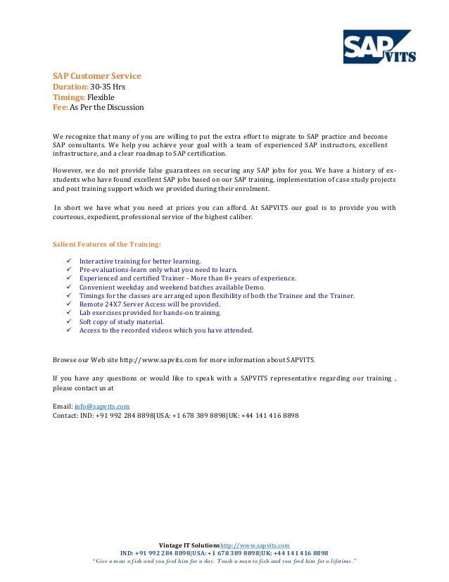Awesome SAP Customer Service Module PDF. Vintage IT Solutionshttp://www.sapvits.com  IND: +91 992 ... Photo