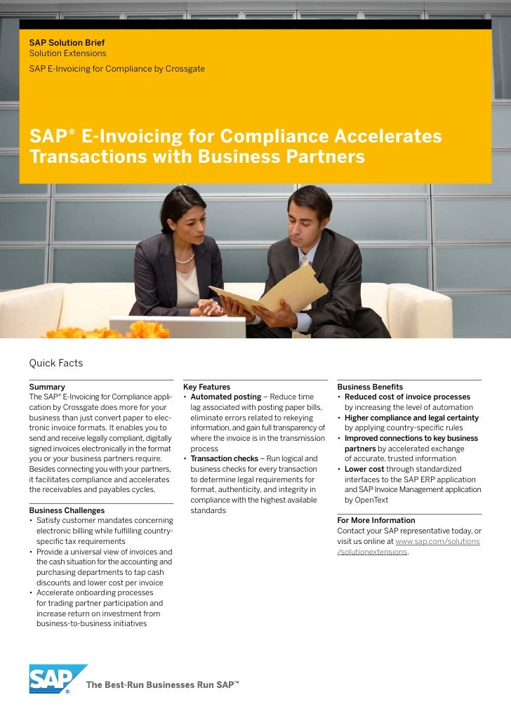 SAP Solution BriefSolution ExtensionsSAP E-Invoicing for Compliance by CrossgateSAP® E-Invoicing for Compliance Accelerate...