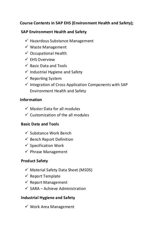Course Contents in SAP EHS (Environment Health and Safety); SAP Environment Health and Safety  Hazardous Substance Manage...