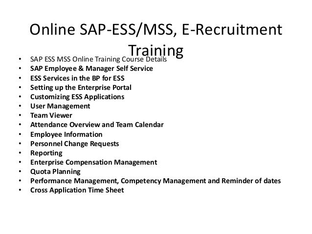 sap ess mss online training  ppt