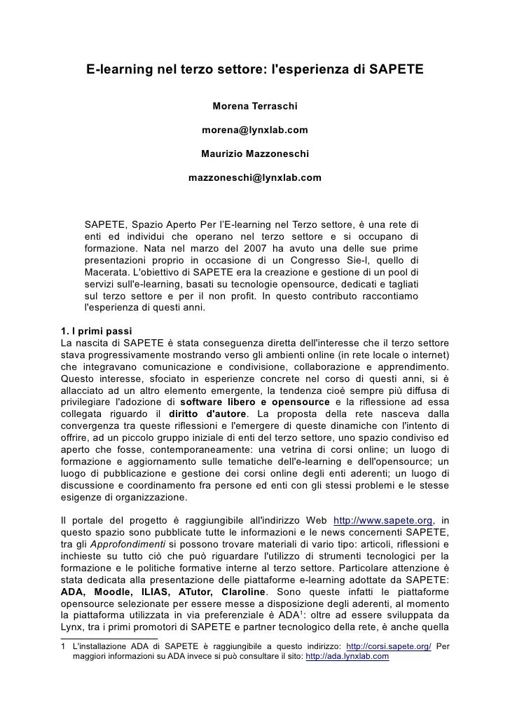 E-learning nel terzo settore: l'esperienza di SAPETE                                       Morena Terraschi               ...