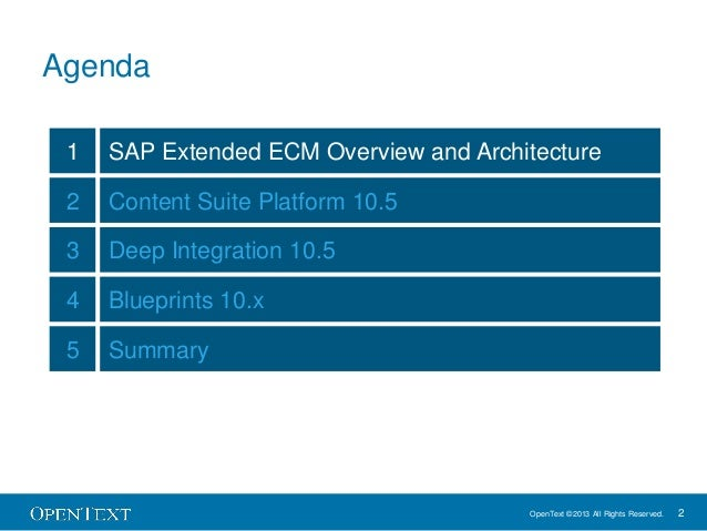 SAP Extended ECM by OpenText 10.5 - What's New? Slide 2