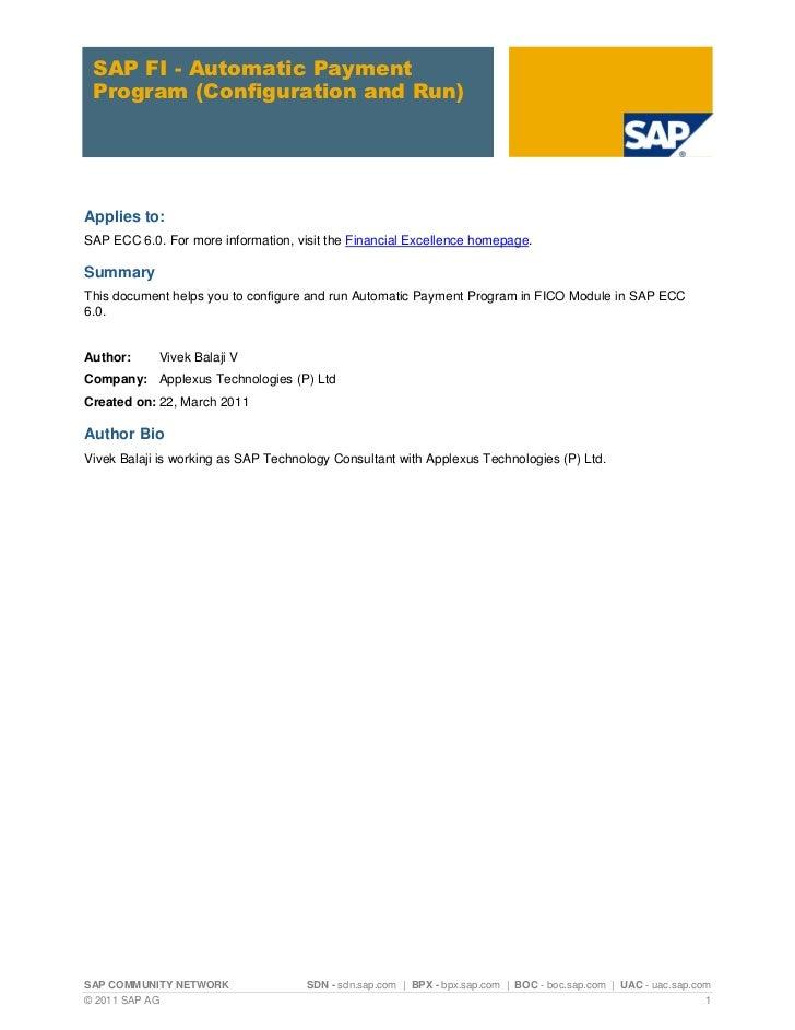 Automatic Payment Program (T Code FBZP) in SAP FICO