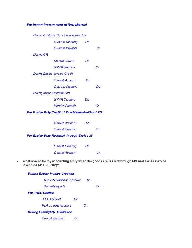 SAP FI CENVAT Entries
