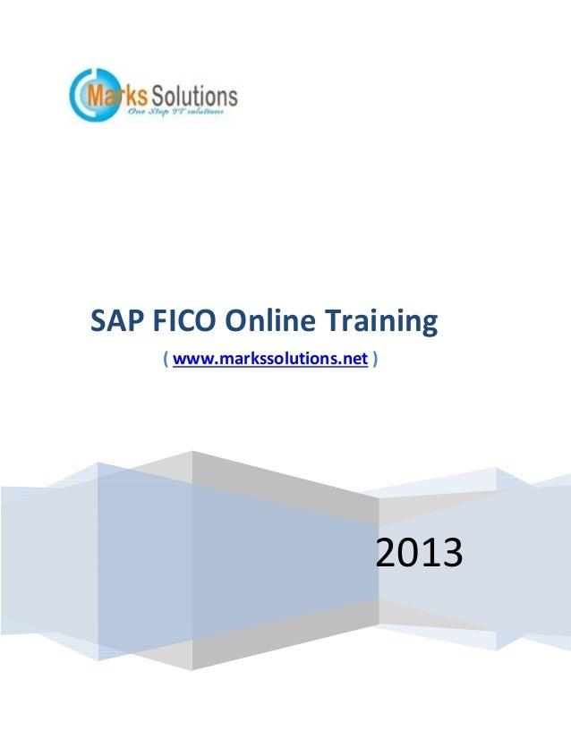 SAP FICO Online Training ( www.markssolutions.net )  2013