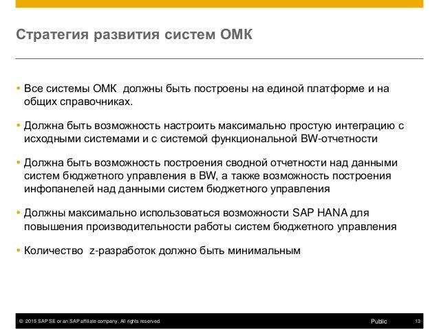 © 2015 SAP SE or an SAP affiliate company. All rights reserved. 13Public Стратегия развития систем ОМК  Все системы ОМК д...