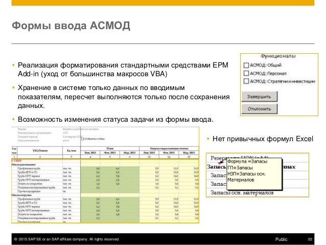 © 2015 SAP SE or an SAP affiliate company. All rights reserved. 22Public Формы ввода АСМОД  Реализация форматирования ста...