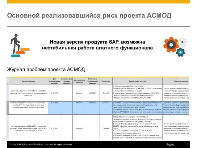 © 2015 SAP SE or an SAP affiliate company. All rights reserved. 27Public Основной реализовавшийся риск проекта АСМОД Новая...