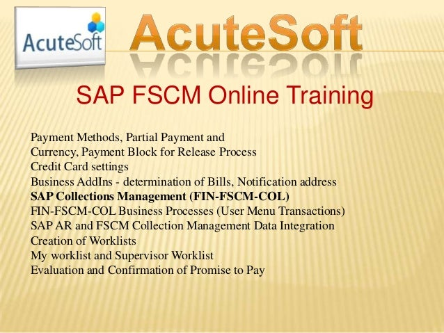SAP FSCM Online Training Payment Methods, Partial Payment and Currency, Payment Block for Release Process Credit Card sett...