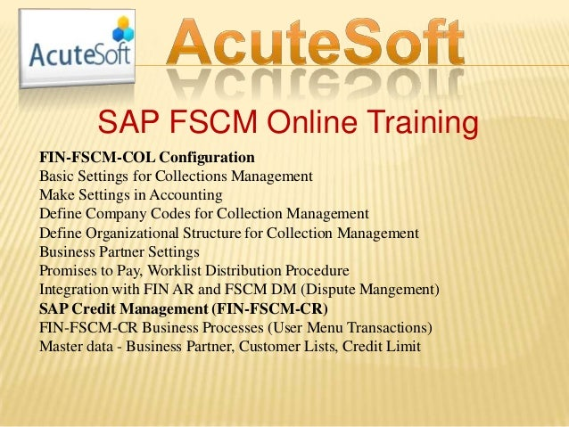 SAP FSCM Online Training FIN-FSCM-COL Configuration Basic Settings for Collections Management Make Settings in Accounting ...