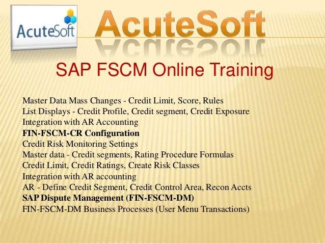 SAP FSCM Online Training Master Data Mass Changes - Credit Limit, Score, Rules List Displays - Credit Profile, Credit segm...