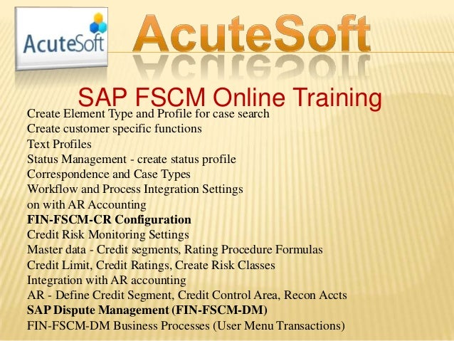 SAP FSCM Online TrainingCreate Element Type and Profile for case search Create customer specific functions Text Profiles S...