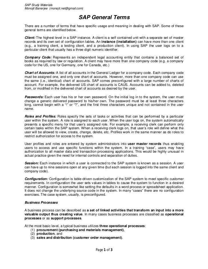 SAP Study MaterialsMonojit Banerjee (monojit.net@gmail.com)                                    SAP General TermsThere are ...