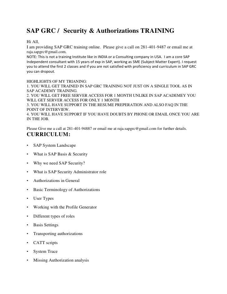 Sap grc training materials download