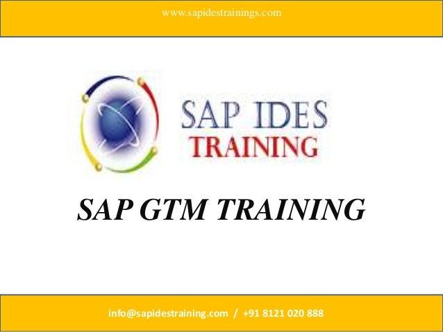 SAP GTM TRAINING www.sapidestrainings.com info@sapidestraining.com / +91 8121 020 888