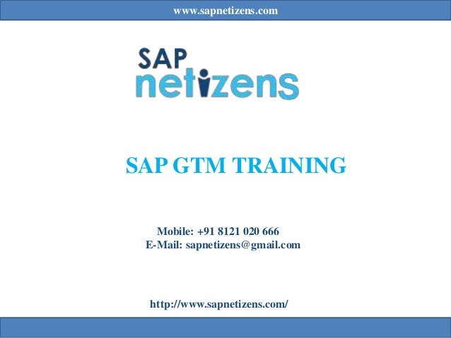 www.sapnetizens.com SAP GTM TRAINING Mobile: +91 8121 020 666 E-Mail: sapnetizens@gmail.com http://www.sapnetizens.com/