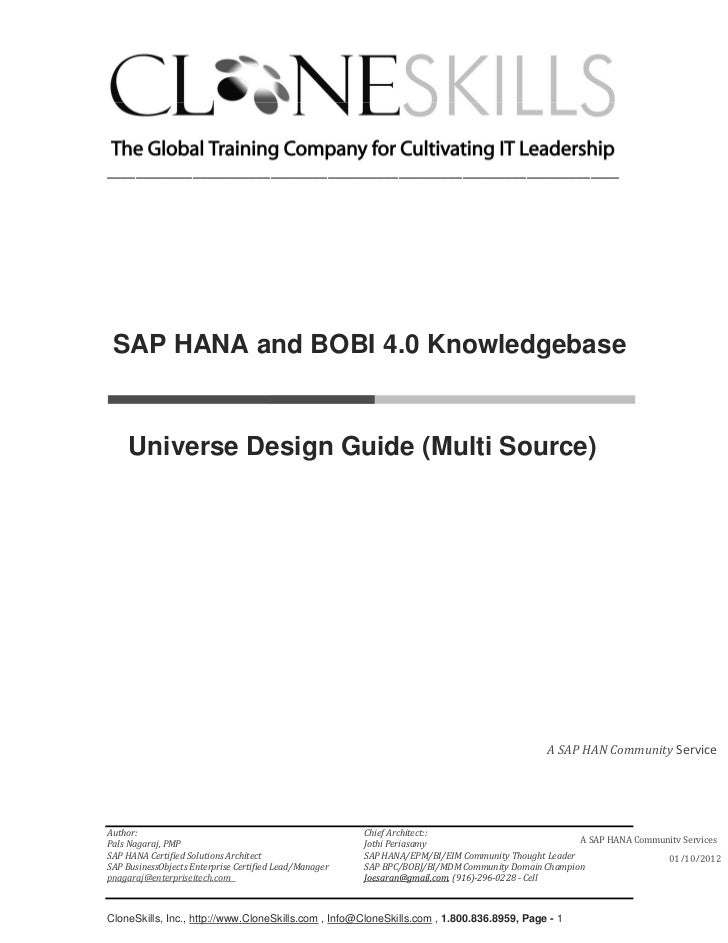 ________________________________________________________________________ SAP HANA and BOBI 4.0 Knowledgebase     Universe ...