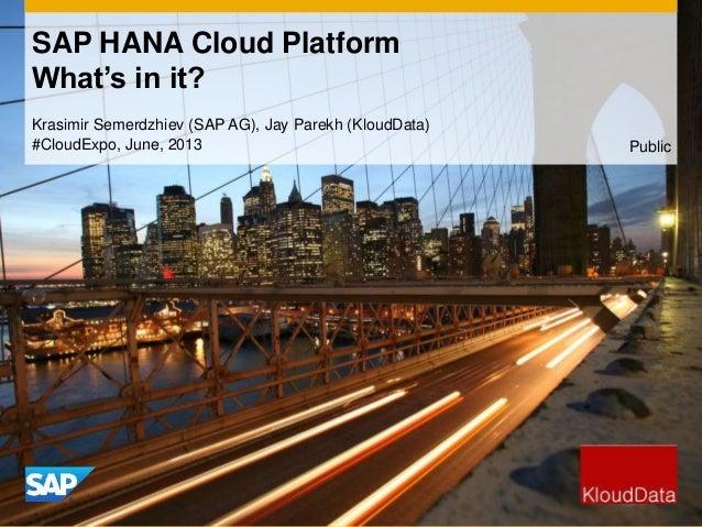 Krasimir Semerdzhiev (SAP AG), Jay Parekh (KloudData)#CloudExpo, June, 2013SAP HANA Cloud PlatformWhat's in it?Public