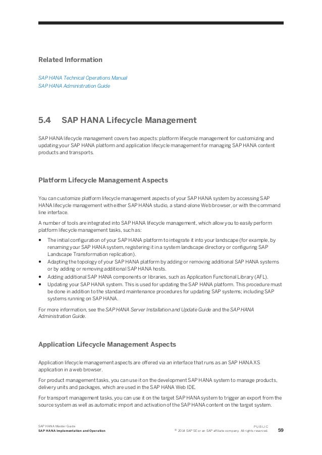 sap hana content lifecycle management guide