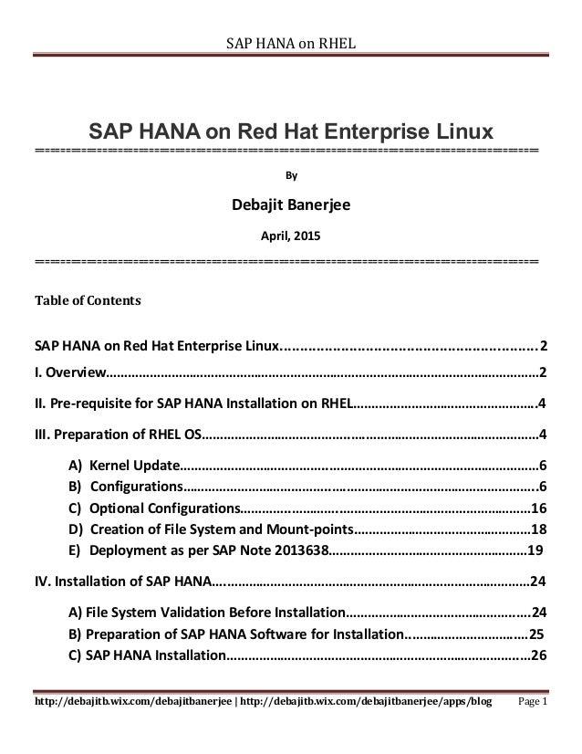 SAP HANA on Red Hat