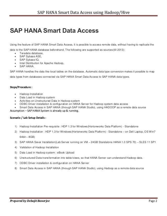 Hadoop integration with SAP HANA