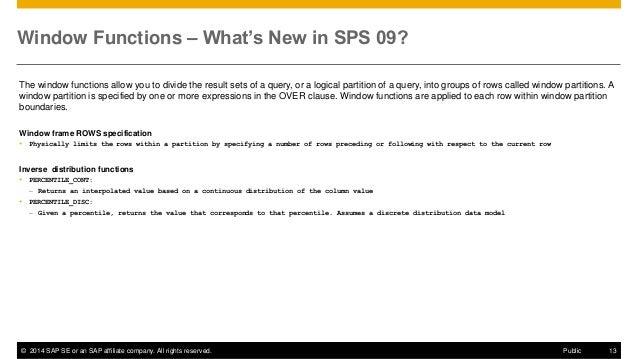 SAP HANA SPS09 - SAP HANA Core & SQL