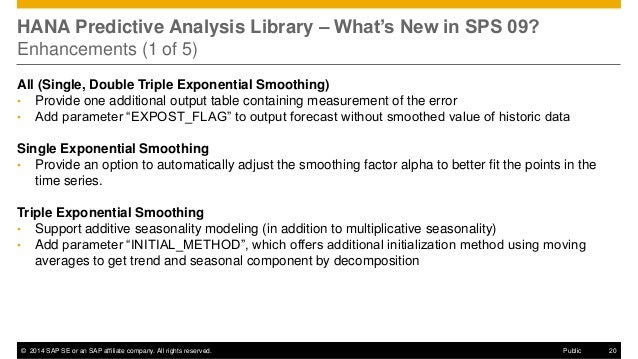 ©2014 SAP SE or an SAP affiliate company. All rights reserved.  20  Public  HANA Predictive Analysis Library – What's New ...
