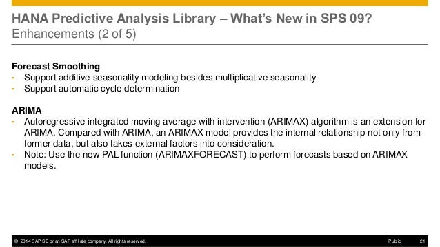 ©2014 SAP SE or an SAP affiliate company. All rights reserved.  21  Public  HANA Predictive Analysis Library – What's New ...