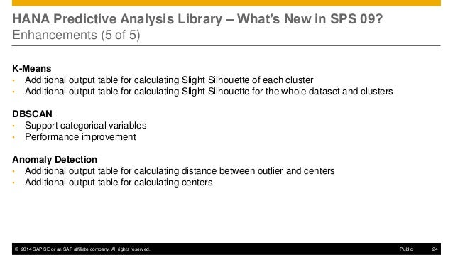 ©2014 SAP SE or an SAP affiliate company. All rights reserved.  24  Public  HANA Predictive Analysis Library – What's New ...