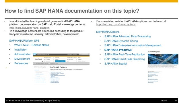 ©2014 SAP SE or an SAP affiliate company. All rights reserved.  27  Public  How to find SAP HANA documentation on this top...
