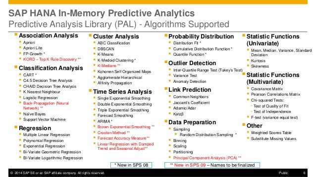 ©2014 SAP SE or an SAP affiliate company. All rights reserved.  6  Public  SAP HANA In-Memory Predictive Analytics Predict...