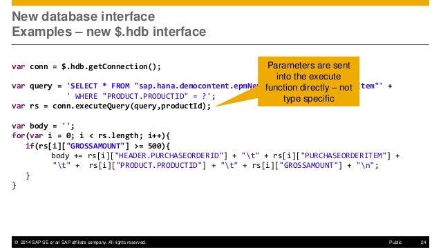 SAP HANA SPS09 - XS Programming Model