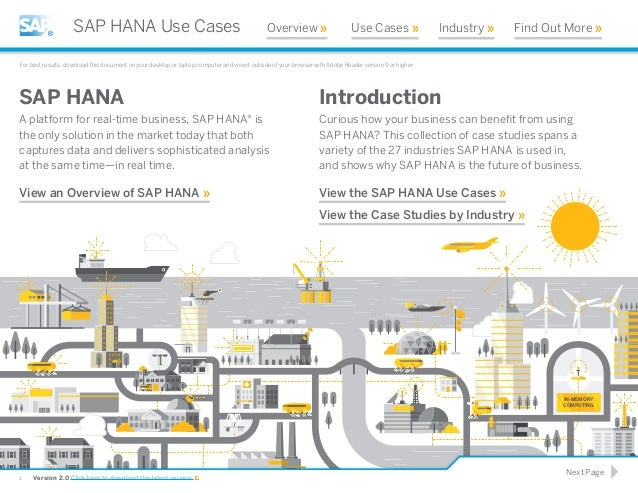 IN-MEMORY COMPUTING Introduction Curious how your business can benefit from using SAP HANA? This collection of case studies...