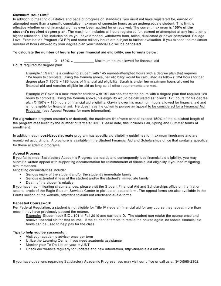 Unt Financial Aid >> Satisfactory Academic Progress Handout Fall 2011