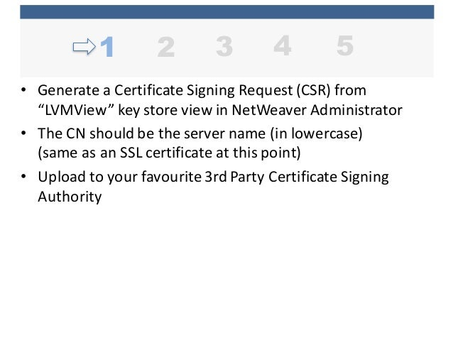 """• Generate  a  Certificate  Signing  Request  (CSR)  from   """"LVMView""""  key  store  view  in  NetWe..."""