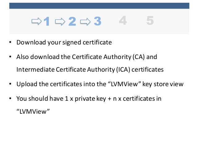 • Download  your  signed  certificate • Also  download  the  Certificate  Authority  (CA)  and   Inter...