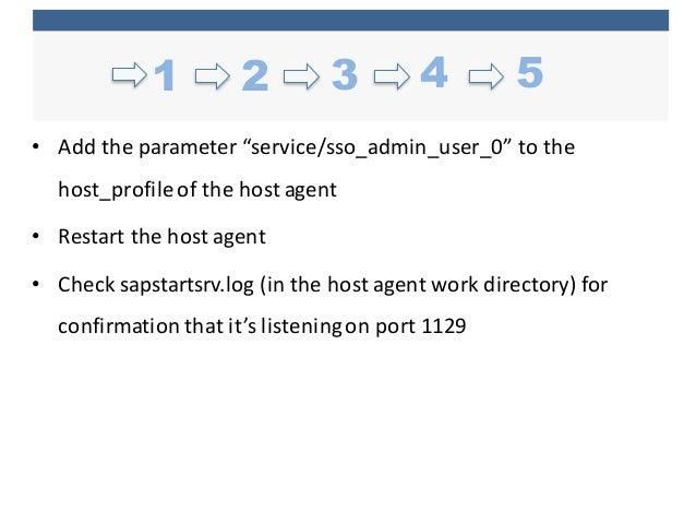 "• Add  the  parameter  ""service/sso_admin_user_0""  to  the   host_profileof  the  host  agent • Restart..."