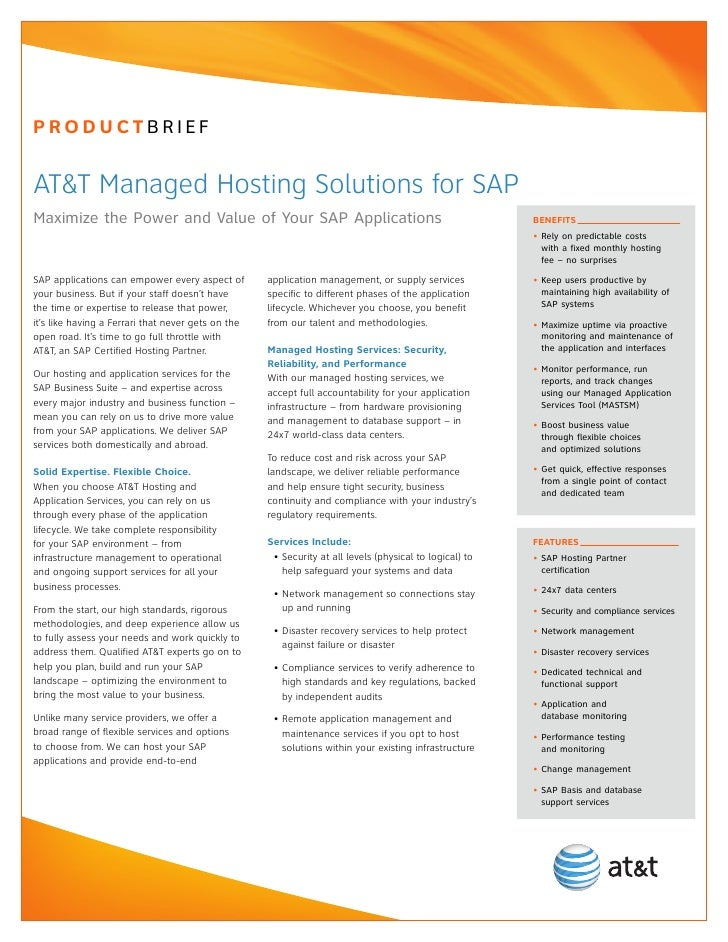 PRODUCTBRIEFAT&T Managed Hosting Solutions for SAPMaximize the Power and Value of Your SAP Applications                   ...