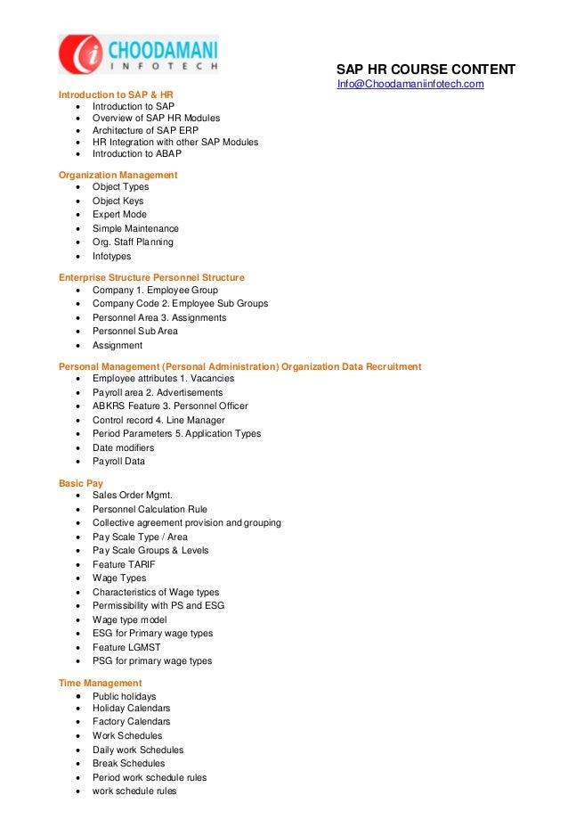 SAP HR COURSE CONTENT                                                         Info@Choodamaniinfotech.comIntroduction to S...