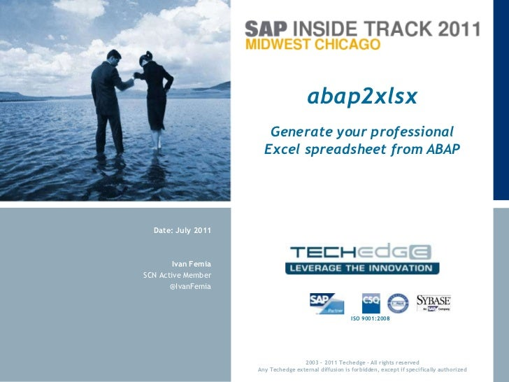 abap2xlsx<br />Generate your professional Excel spreadsheet from ABAP<br />Ivan Femia<br />SCN Active Member<br />@IvanFem...