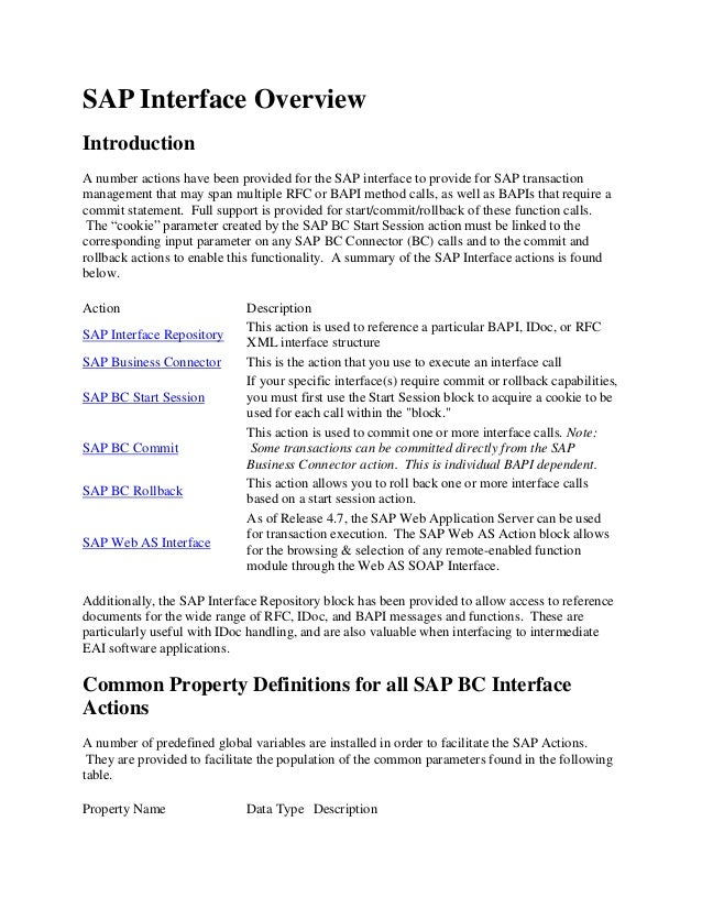SAP Interface OverviewIntroductionA number actions have been provided for the SAP interface to provide for SAP transaction...