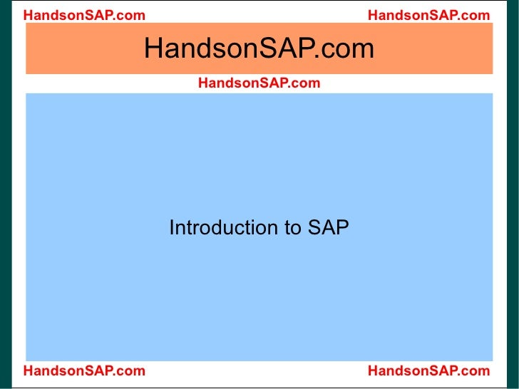 HandsonSAP.com Introduction to SAP