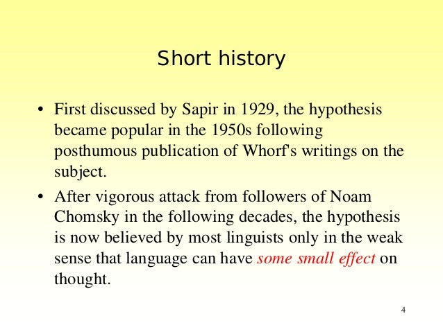 a brief sapir whorf hypothesis In my previous blog post i had a brief mention about the sapir-whorf hypothesis, and how it blind-sided me to an obvious designin this blog post i'll retell yet another story of how sapir-whorf blind-sided me yet again - just moments, actually.